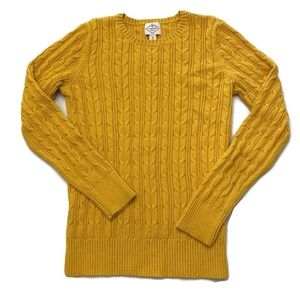 St John's Bay Cable Knit Sweater Mustard Med EUC